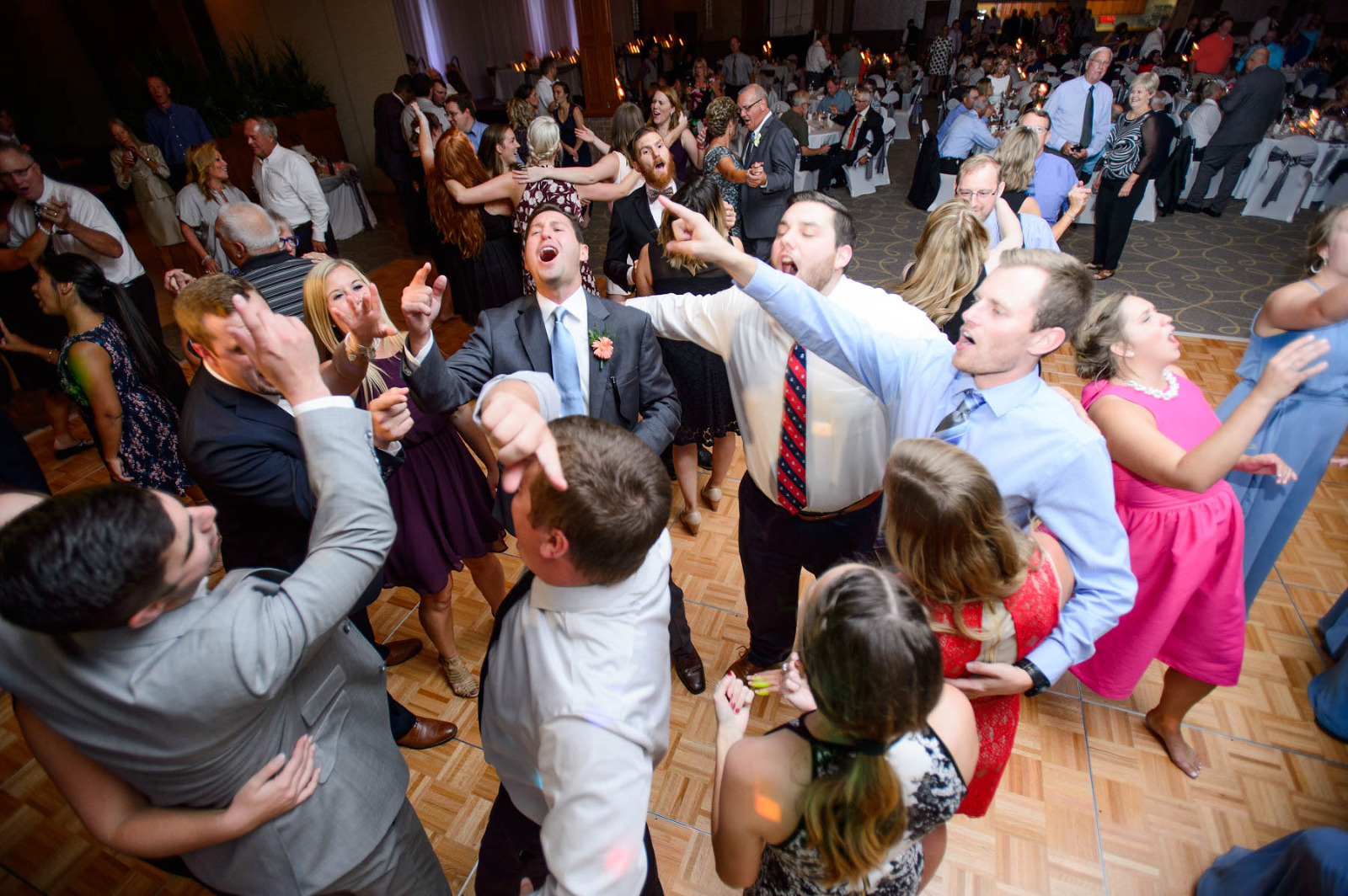 Wedding guests on the dance floor at the Horizons Conference Center